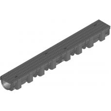 Желоб HAURATON TOP Х (119 х 89 х 1000), PP-PE (черный), з PP решеткой (SW 9мм), CAR TRAFFIC, 1м.п.
