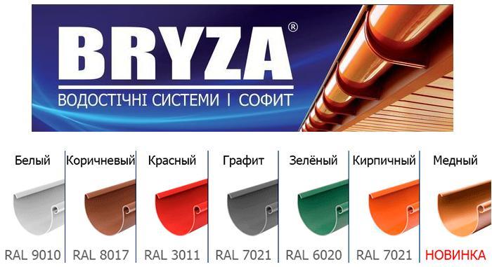 Водосточная система Bryza Желоб 3 м.п. Выбор цвета