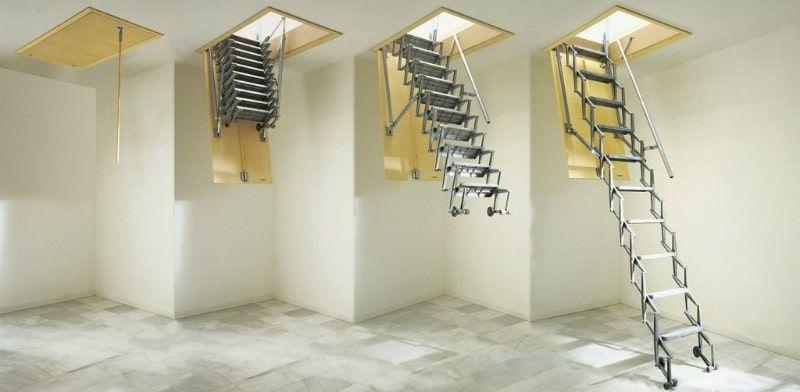 Металлическая чердачная лестница